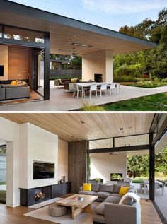 This modern house has been designed to enable indoor/outdoor living with the inclusion of sliding glass doors that open up the living room to the covered outdoor patio. This creates an easy flow from the patio, with its fireplace and lounge area, into the living room with a sectional sofa, wood paneling, and a TV that's been set back slightly into the wall. #Outdoor #LivingRoom #livingroomsofamodernwoods