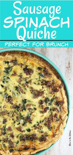 Sausage Spinach Quiche is a delicious dish for anytime of day. A flavorful and f… Sausage Spinach Quiche is a delicious dish for anytime of day. A flavorful and filling meal with eggs, smoked cheese, sausage and spinach all baked up in a flaky pie crust. Sausage Quiche, Bacon Sausage, Cheese Quiche, Spinach And Cheese, Cheese Sausage, Pasta Cheese, Sausage Pasta, Breakfast Sausage Recipes, Breakfast Casserole