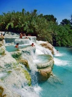 "Mineral Baths, Terme di Saturnia , Tuscany, Italy I've been to Terme di Papa, which is ""local"" to Roma and paved, simple. I've been to the hot spring spas in Ischia, which is posh and lovely. But this is gorgeous, lush, and surreal.  I want to go to there."