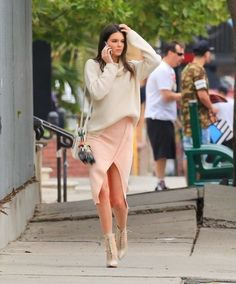Kendall Jenner style classy  #asymmetric skirt #theory #sweater #turtleneck