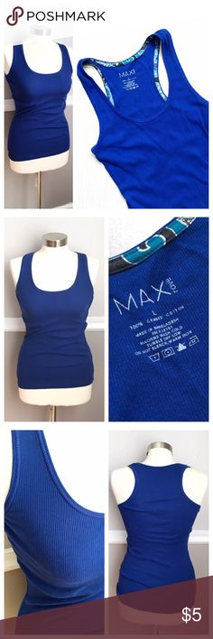 Juniors - Royal Blue Racer Back Tank Great royal blue color! Racer back tank to work out or wear casually! Ribbed look to fabric. Max Rave Tops