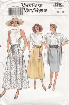 f29b2ffdf33e Vintage Vogue 9850 Flared or Straight Skirts