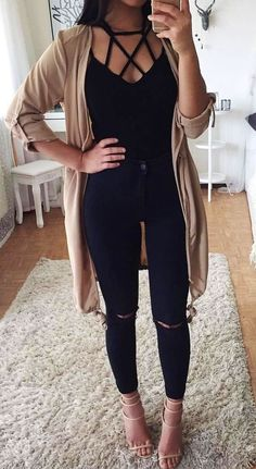 #winter #outfits black cage-neckline shirt, brown cardigan, and black denim bottoms