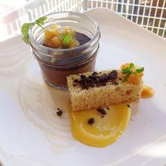 mousse w/ dark chocolate crust & orange marmalade. Served w/ cardamom ...