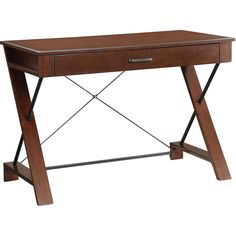 Rosalind Writing Desk with Decorative Steel Supports, Pecan Finish