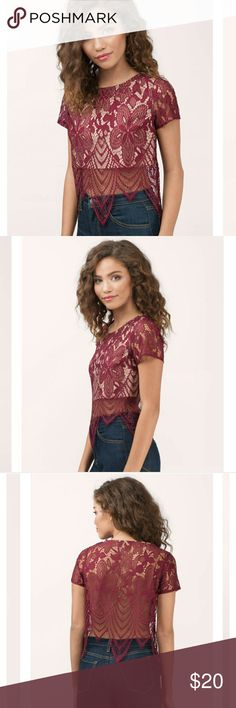 "For love and lemons style lace crop by Tobi Length: 20""/50.8cm Sleeve Length: 6.5""/16.5cm Model's profile: height 5' 6"", bust 30"", waist 23?, hips 35"" Tobi Tops Crop Tops"