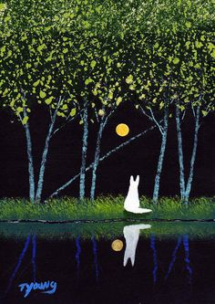 White German Shepherd Dog art PRINT Still Water Forest of Todd Young painting