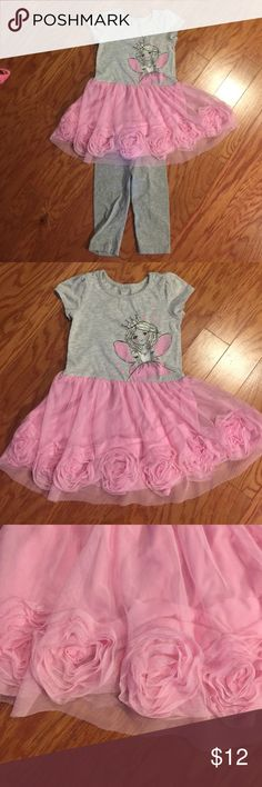 Children's Place SS Fairy Rosette Dress/leggings Like new condition. Fairy dress with beautiful pink rosette detail. Also comes with matching grey leggings. Comes from a pet-free/smoke-free home. Children's Place Matching Sets