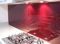 Textured glass splashback  Nice too....