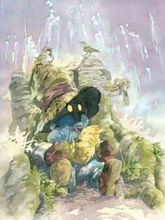 Vivi taking care of a little baby Chocobo in Final Fantasy IX art