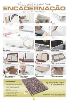 Tut : Book binding tutorial infographic and accompanying video. Looks like a good way for me to do mine! Notebook Diy, Handmade Notebook, Handmade Books, Book Crafts, Diy And Crafts, Diy Paper, Paper Crafts, Bookbinding Tutorial, Book Binding