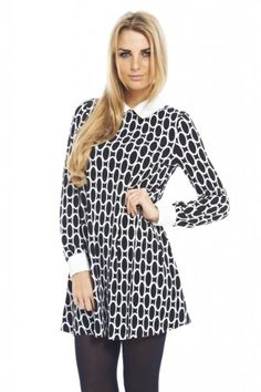 AX Paris Long Sleeve Cuffcollar Circle Print Dress