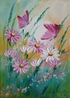 Pink Butterflies Daisy Meadow Original Impasto Oil Painting Europe Artist Flower--ArtistsUnion