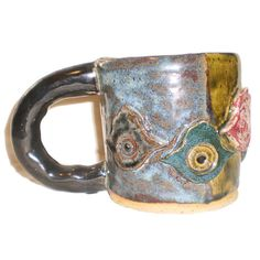 Chamsa Cup  Hand-built ceramic slab mug with by aberrantceramics