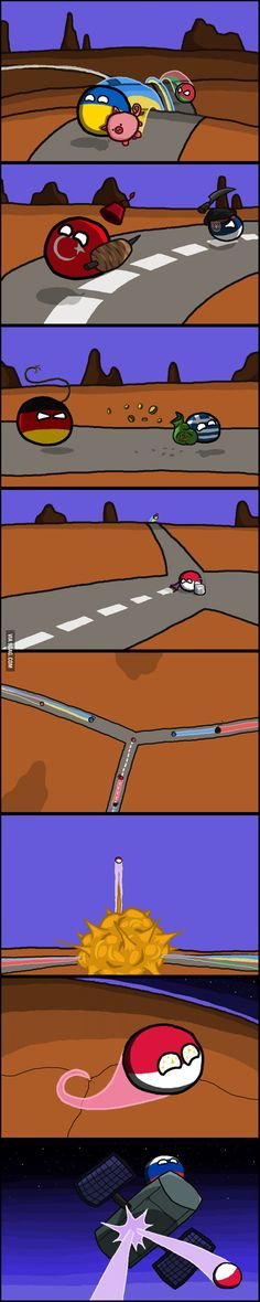 """Chasing the dream"" ( Poland, Ukraine, Belarus, Germany, Greece, Serbia, Turkey, Russia ) #polandball #countryball #flagball"