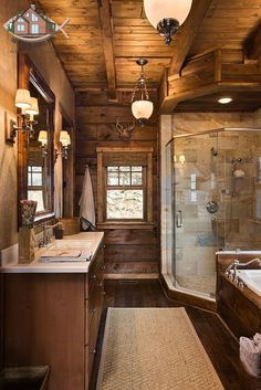 North carolina log homes - perfect mix of log cabin and modern detailing cabin bathrooms, Rustic Bathrooms, Dream Bathrooms, Wooden Bathroom, Bathroom Ideas, Log Cabin Bathrooms, Design Bathroom, Bath Ideas, Lodge Bathroom, Bathroom Interior