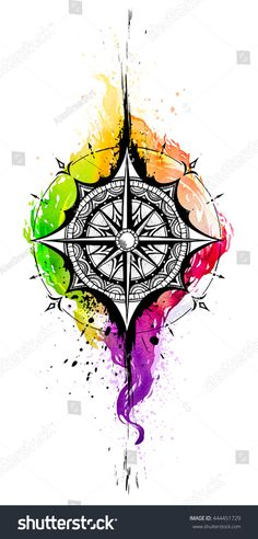 Compass. Ink watercolor drawing. Watercolor tattoo. Arrow Compass Tattoo, Compass Art, Compass Tattoo Design, Compass Rose, Neue Tattoos, Body Art Tattoos, Tattoo Drawings, Disney Tattoos, Wolf Tattoos