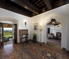 Spanish Colonial Revival - dark beams, arches, Saltillo tile - love the tile for the walkway House Design, House, Home, House Styles, Colonial House, Mediterranean Homes, Spanish House, Spanish Style Homes, Colonial Style