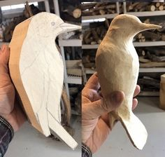 Simple Wood Carving, Dremel Wood Carving, Wood Carving Art, Wood Art, Whittling Projects, Whittling Wood, Carved Wooden Animals, Wooden Bird, Wood Carving Designs