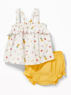 Old Navy Ruffled Fruit Print Tank & Bloomers Set for Baby - Kids Fashion