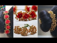 Tutorial for beautiful bunch of golden pearls Ballet Hairstyles, Saree Hairstyles, Flower Hair Accessories, Wedding Hair Accessories, Flower Jewelry, Beaded Braclets, Pearl Necklaces, Beaded Earrings, Silk Thread Bangles Design