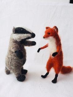 LAST 2 KITS! Fox & Badger Needle Felt Kit, makes 1 poseable fox and 1 poseable badger Felt Fox, Wool Felt, Needle Felting Kits, Badger, Dinosaur Stuffed Animal, Wraps, Felt Projects, How To Make, Animals