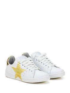 Stella Rittwagen - Sneakers - Donna - Sneaker in pelle e pelle laminata su retro con suola in gomma. Tacco 25, platform 15 con battuta 10. - BIANCO\ORO - € 119.00