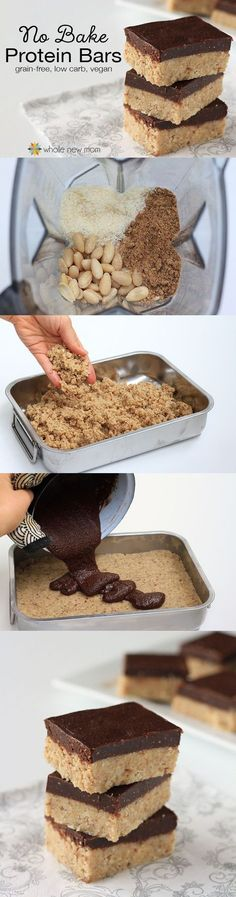 These Homemade Protein Bars are sugar soy grain dairy and egg-free but loaded wi.- These Homemade Protein Bars are sugar soy grain dairy and egg-free but loaded wi… These Homemade Protein Bars are sugar soy grain dairy… - No Bake Protein Bars, Protein Bar Recipes, Snack Recipes, Protein Foods, Protein Cake, Protein Muffins, Protein Cookies, Diet Recipes, Diet Meals