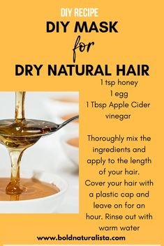 Feb 2020 - If you have dry natural hair check out this diy hair mask. The egg will give your hair the protein it needs ,the apple cider vinegar will cleanse your hair and the honey will leave your hair nice and moisturized. Natural Hair Mask, Natural Hair Tips, Natural Hair Styles, Best Diy Hair Mask, Diy Hair Mask For Dry Hair, 4c Hair, Your Hair, Egg Hair Mask, Hair Masks