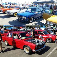 Missing JCCS on this Monday afternoon shoutout to @rawloo!  Anyone know the owner of the blue dime?  Sweeeeet wheels! #Datsun #Datsun510 #510 #JCCS #japaneseclassics #Jen #jdmwheels