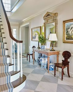 Chinoiserie Chic: The Chinoiserie Foyer LOVE this painted floor! Entryway Decor, Entrance Foyer, Foyer Furniture, Entrance Hall, Foyer Decorating, Decorating Blogs, Southern Homes, Painted Floors, White Houses