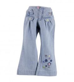 100% cotton woven blue denim pants with button front, zip fly, meow stripe print knit lined, crisscross embroidered & bow trimmed wide waistband, two front button trimmed flaps, gathered yoke and lower left leg 'flowers' embroidery & button trim. Full length pants. Machine washable. Imported.