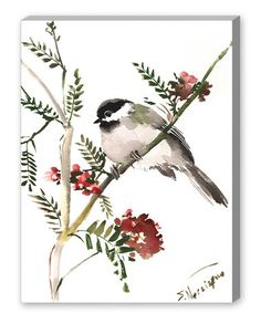 Another great find on #zulily! Green Branch Chickadee Wall Art #zulilyfinds