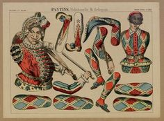 "Pantin ""Pantins. Polichinelle & Arlequin"", ca. 1869, Fons Joan Amades #dolls #paperdolls #puppets"