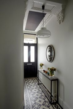 Fabulous Hallway Decor Ideas For hallway ideas ideas small ideas entrance hallway ideas hallway decorating halls Hall Tiles, Tiled Hallway, Hallway Flooring, White Hallway, Hallway Shelf, Hallway Ceiling, Upstairs Hallway, Flur Design, Hallway Inspiration