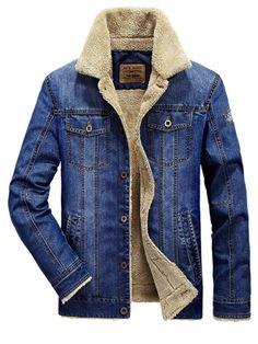 Lapel Winter Outdoor Thicken Warm Slim Casual Men's Denim Jacket