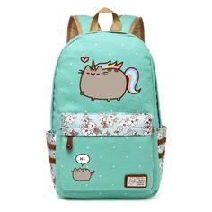 9919c88fe6 Pusheen Cat Canvas bag unicorn Flower wave point Rucksacks backpack for  teenagers Girls women School Bags travel Shoulder Bag