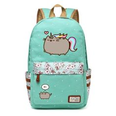 Pusheen Cat Canvas bag unicorn Flower wave point Rucksacks backpack for  teenagers Girls women School Bags 506fb39a60191