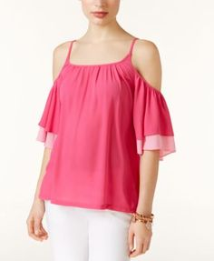 INC International Concepts Ruffled Cold-Shoulder Top, Only at Macy's