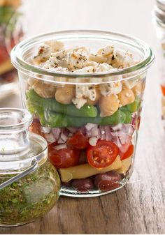 Layered Bean Salad with Feta – Layered with colorful beans, crumbled feta and Italian dressing, this salad is prepared in canning jars for easy picnic-cooler packing.