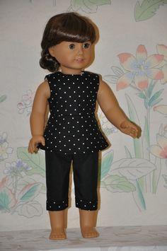 Black White Polka Dot Print Top Black Pant Set Fits American Girl Doll Clothes | eBay