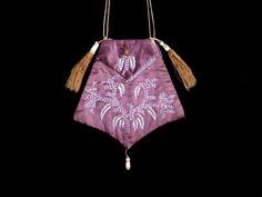 Purple reticule, c. 1810, French.