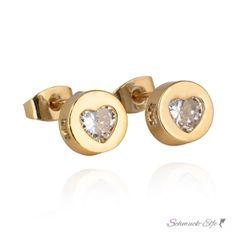 1 Paar Ohr Stecker Herz mit Zirkonia mit Gelbgold vergoldet