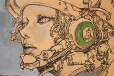 Beautiful drawing and painting on a wood panel - Katsuya Terada
