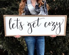 Lets Get Cozy 36x12 Sign. Framed Wood Sign. Rustic Wall Decor. Framed Sign.  Quote Sign. Farmhouse Wall Decor. Let's Get Cozy.