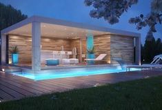 Modern Swimming Pool with Custom Swimming Pool Waterfall Feature, Pathway, Lap pool, Gazebo, Plush Ottoman By Zuo Modern