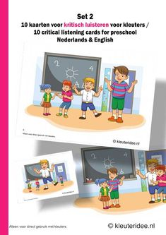 Kritisch luisteren voor kleuters10 kaarten set 2, kleuteridee.nl, critical listening preschool 10 cards for preschool, Dutch and English ver...