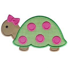 Applique Only :: Girl Turtle Applique - Embroidery Boutique