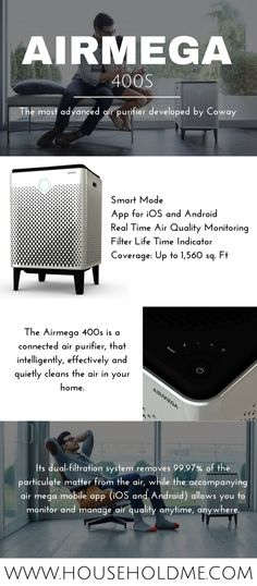 Airmega 400s Infographic  Buy on Amazon: http://amzn.to/2bXoupb (Affiliate)  #airmega #airmega400s #400s #airpurifier #purifier #airquality #home #householdme #cleanair