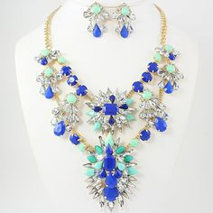 Blue / Crytstal Necklace Set via Thorpe's Emporium. Click on the image to see more!